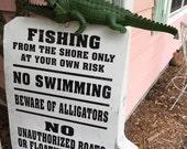 Vintage METAL SIGN WaRNing ALLIGATORS, Fishing Sign, Swamp Sign, Lake Sign, River Sign, Metal Signage at Modern Logic