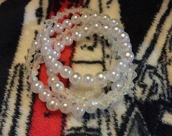 Fake pearl wrap bracelet