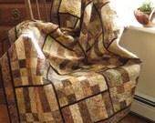 Brown Batik modern Couch Throw soft creams browns dark umber trim