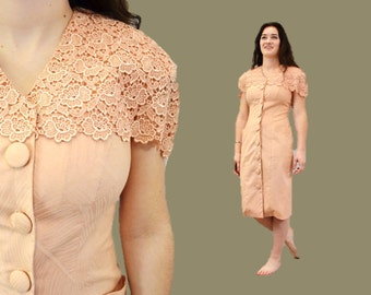 LACE dress hipster peach indie festival spring fashion pastel small romantic IngridIceland