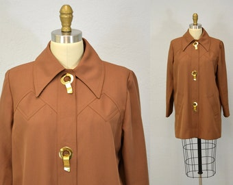 70s coat lightweight jacket car coat outerwear 1970s large grommets L brown cocoa IngridIceland indie hipster grunge