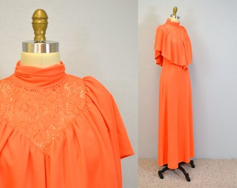 70s dress hipster COCKTAIL ruffled prairie maxi neon Orange ruffles long prairie gown 1970s Medium Ingridiceland