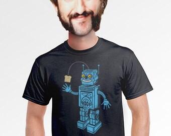 robot shirt gifts for techies computer nerd t shirt artistic t-shirt original tees printed graphic design novelty shirts for men large xl 2x