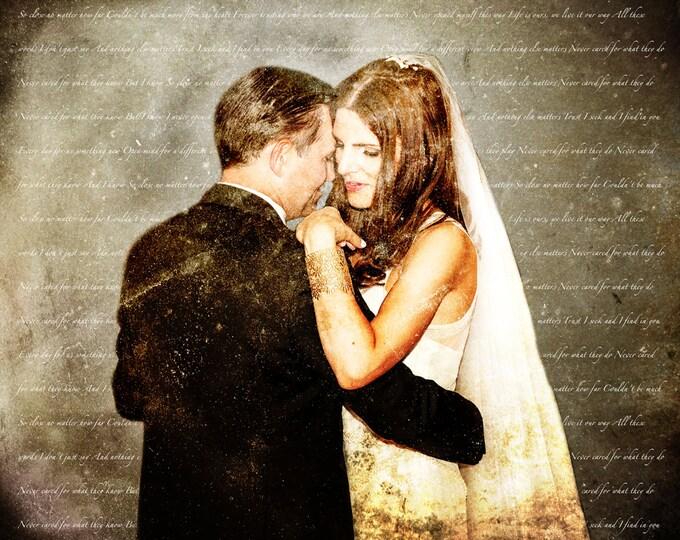 Custom Personalized Wedding Vows Song Lyrics Photo Gift Canvas Text Art 16x20