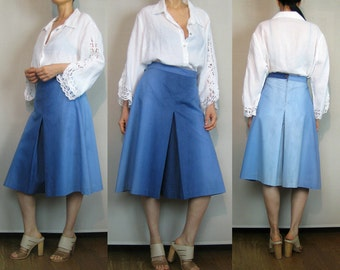 70s OMBRE CULOTTES Vintage 70s Light Blue Cotton Culottes 70s Blue Gauchos Faded Blue Culottes Cropped Wide Leg Pants Palazzo Pants