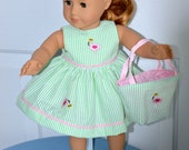 SALE - 18 Inch Doll Sleeveless Seersucker Dress, Matching Panties and Totebag with Embroidered Flamingoes by SEWSWEETDAISY
