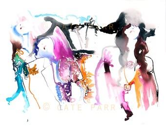 Fashion Illustration Print, Fashion Wall Art, Saint Laurent, Hedi Slimane, Fashion Art Print, Fashion watercolor, Cate Parr, Desert fashion
