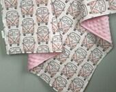 VW Bus- Hippie Baby Blanket- Minky Blanket- Pink Minky