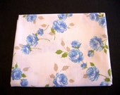 Vintage Reclaimed Sheet Fat Quarter Blue Roses on Pure White 100% Cotton