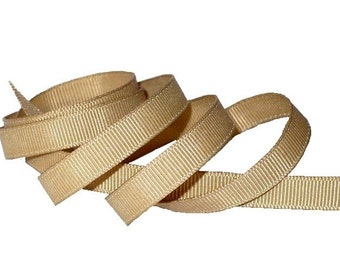 "3/8"" Beach House Beige Grosgrain Ribbon, 1960's Vintage Millinery Sewing Supply"