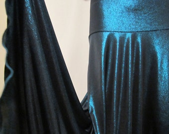 """Ladies' Modest TURQUOISE Shimmer Stretch Polyester Knit Jersey Maxi Skirt for Missionary, Travel or Leisure, S/M, 38""""long"""