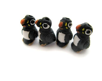 4 Tiny Puffin Beads - Bird, Puffin, Animal, Peruvian - CB958