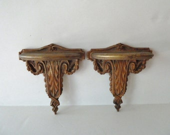 Vintage Syroco Architectural Wall Bracket Shelves Louis XVI Neoclassic Design