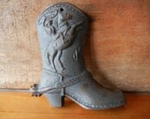 Vintage Cast Iron Cowboy Boot Wall hanging Western Cowgirl Country Metal Rodeo Rustic Primitive surface rust