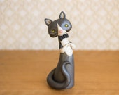 Grey and White Tuxedo Cat Figurine by Bonjour Poupette