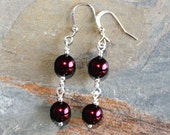 Burgundy Pearl Earrings, Burgundy Earrings, Red Earrings, Holiday Earrings, Pearl Earrings, Handmade Earrings, Dangly Earrings