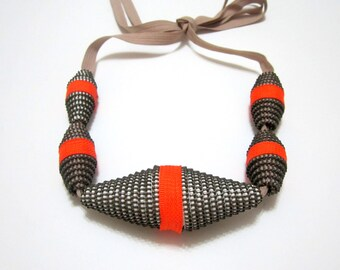 PASSION FRUITS - Zippers Textile Handmade Statement Orange Couture Necklace