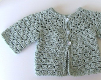 cotton lace baby girls cardigan sweater hand knit knitted in sea green aqua with vintage pearlized buttons gift wrapped size 0 to 6 months
