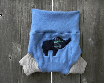 Upcycled Cashmere/ Wool Soaker Cover Diaper Cover With Added Doubler Blue / Gray With Elephant Applique LARGE 12-24M
