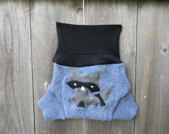 Upcycled Wool  Soaker Cover Diaper Cover With Added Doubler Blue / Black With Sneaky Raccoon Applique SMALL 3-7M Kidsgogreen