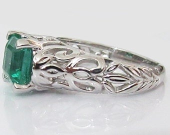 Emerald Ring, Engagement Ring, Solitaire Ring, 18K White gold, May Birthstone