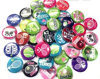 "Tennis, Tennis Pin, Tennis Button, Tennis Pinback, 1"" Button, Tennis Flatback, Tennis Party, Tennis Party Favor, Tennis Gift, Tennis Theme"