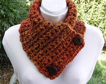 NECK WARMER SCARF Buttoned Cowl, Dark Burnt Orange Brown Rust Gold, Extra Soft, Thick Crochet Knit, Wood Buttons..Ready to Ship in 3 Days