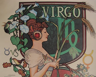 Vintage Virgo Poster 70s Horoscope Vintage Zodiac Art Print August September Birthday Gift