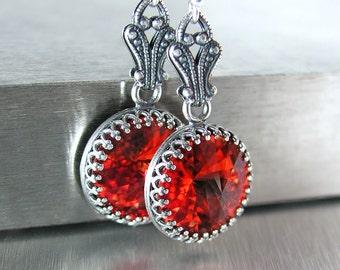 Bright Red Crystal Earrings Vintage Style Antique Silver Earrings Swarovski Crystal Red Drop Earrings Sterling Hooks Victorian Jewelry