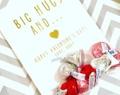 Big Hugs and Kisses Set - Valentine's Day GOLD FOIL Card and Bag by Abigail Christine Design