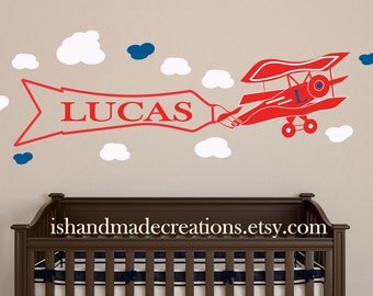 AirplaneWall decal Nursery custom wall decor Personalized Initial Name Vinyl Wall Decal for nursery or playroom