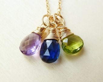 SALE Any 3 Birthstone necklace. Gold or Silver. Personalized. Birthstone jewelry gift. Pendant. Charm. Amethyst Sapphire Peridot . Gift
