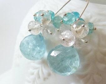 SALE Large Aquamarine drop dangle earrings. March birthstone earrings. Aquamarine earrings. Organic Aquamarine drop. Moss Aquamarine Apatite