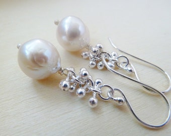 White Pearl earrings with Fine .999 silver sprouts.  Brilliant high luster Pearl. White Freshwater Pearl. June birthstone earrings.
