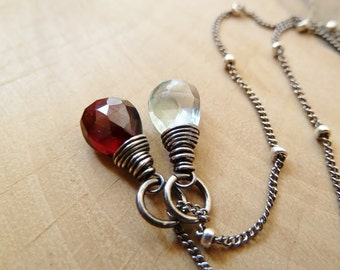 Any 2 birthstone necklace. Gold or Silver. Personalized Birthstone jewelry. Garnet Aquamarine. Birthstone Pendant. Charm. Custom. Birthstone