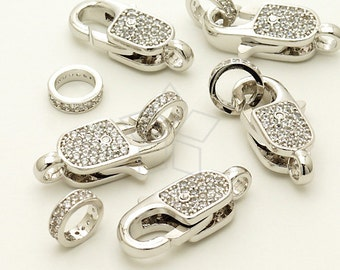 CS-068-OR / 1 Pcs - Luxury CZ Lobster Clasp (Long Type), Silver Plated over Brass / 20mm x 9.7mm