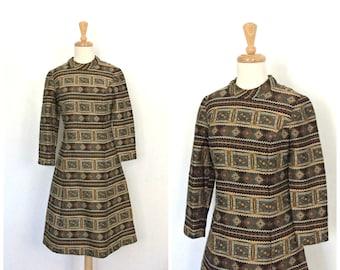 1960s Mod Dress - shift dress - sheath - geometric - knee length - mad men - long sleeve - S M