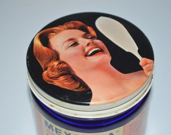Cobalt blue bottle skin cream jar - retro lady - Mexsana beauty lotion - noxema