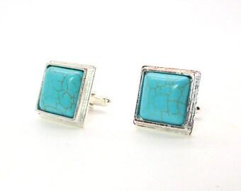 Turquoise Magnesite Cufflinks - Blue Magnesite Cufflinks – Turquoise Cufflinks