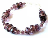 40% OFF SALE Amethyst Lampwork Bracelet, Purple Glass Beads, Sterling Silver Beads, Sparkling Amethyst Crystal Bracelet, Large Bracelet, Hea