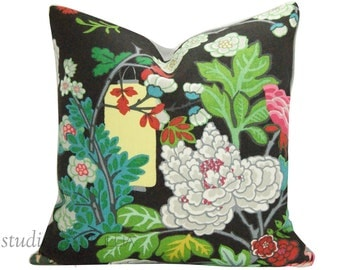 Schumacher Pillow Cover - SPECIAL - Chiang Mai Dragon - Ebony - 19X19  - Schumacher Pillow Cover - botanical - ready to ship