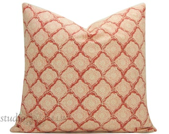 Kashmira Blush Pillow Cover - Kravet - 20 inch - batik pillow - quatrefoil pattern - boho chic - salmon -  made to order
