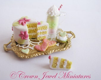 1:12 Marie Antoinette Cake, Parfait, Tart & Cookie Tray by IGMA Artisan Robin Brady-Boxwell - Crown Jewel Miniatures