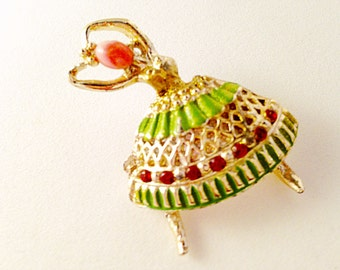 CLEARANCE - RHINESTONE BALLERINA Pin - Vintage Jewelry, Dancer Brooch, Ballet Brooch, Ballet Jewelry, Ballet Recital Gift, Vintage Brooch