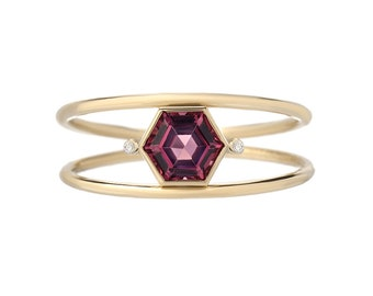Double Band Ring, Hexagon Ring, Double Ring, Stacking Ring, Mothers Ring, Birthstone Ring, Garnet Ring, Diamond Ring, Gold Ring, Ring,Nixin