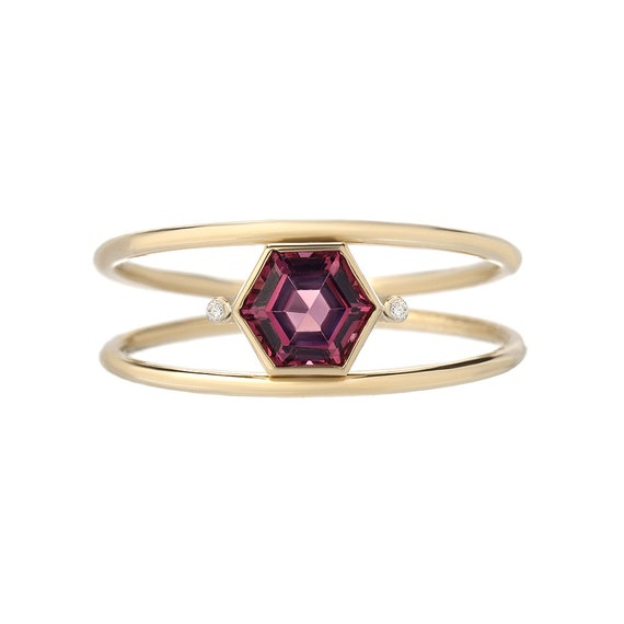 Double Band Ring Hexagon Ring Double Ring Stacking Ring