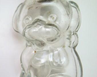 Vintage Perfume Bottle Figural Puppy Dog w/Ribbon Metal Cap