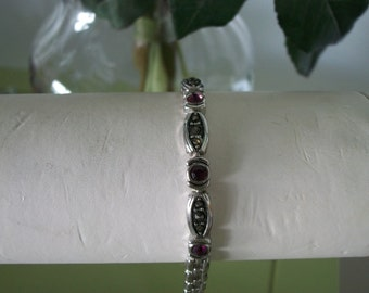 Marcasite and Garnet Link Bracelet