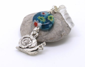 Snail Dust Plug Charm - Blue Millefiori Floral Bead, Woodland Mobile Headphone Jack Charm, Silver Plated Pewter Charm