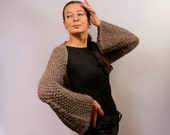 Charcoal Grey Chunky Sweater, Warm Sweater, Cardigan, Long Sleeve Winter Shrug Bulky Merino Wool Crop Sweater, Shrug Knit Bolero Chunky Cowl